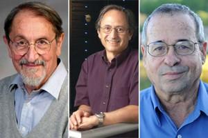 Мартин Карплус, Майкл Левит и Ариэ Варшель (слева направо) Фото: harvard.edu, stanford.edu, Catgunhome / Wikipedia