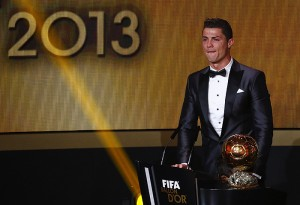 Cristiano Ronaldo reacts after being awarded the FIFA Ballon d'Or 2013 in Zurich