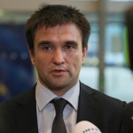 Ukranian Foreign Minister Pawel Klimkin speaks to media after meeting