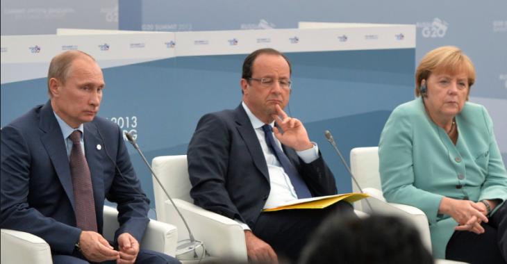 Владимир Путин, Франсуа Олланд, Ангела Меркель Фото: abnews.ru
