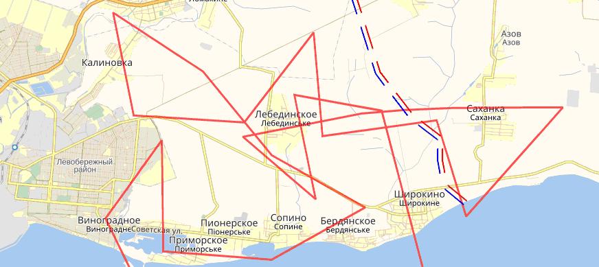 Рис. 8 Маршрут полета БПЛА 10.10.2016 года над территорией Украины