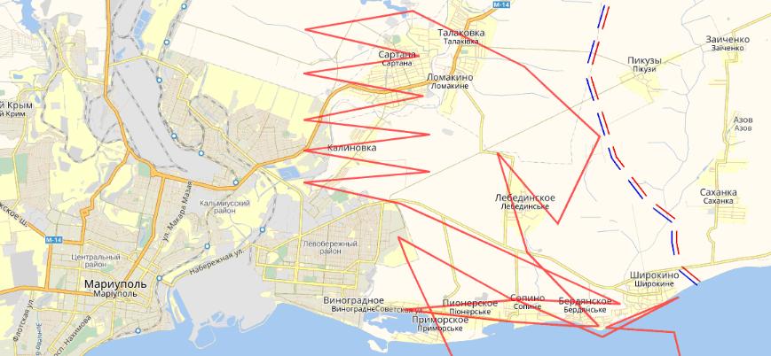 Рис. 6 Маршрут полета БПЛА 03.10.2016 года над территорией Украины