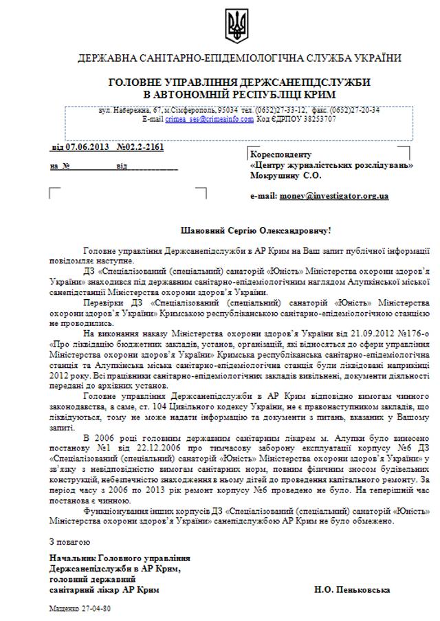 Санаторий «Юность» в 2013 году СЭС не проверяла из за реформ Минздрава?   otvet6